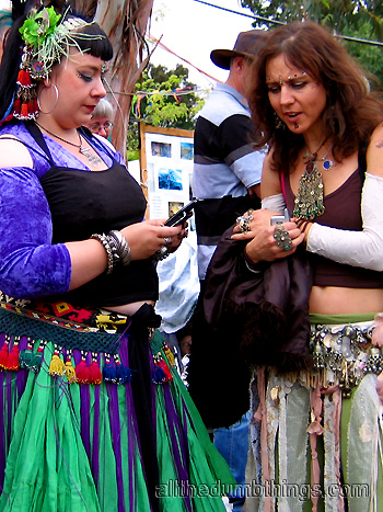 even hippies are facinated with mobile phones