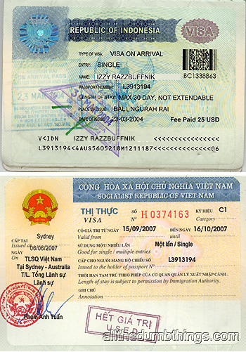 Visas for Indonesia and Vietnam