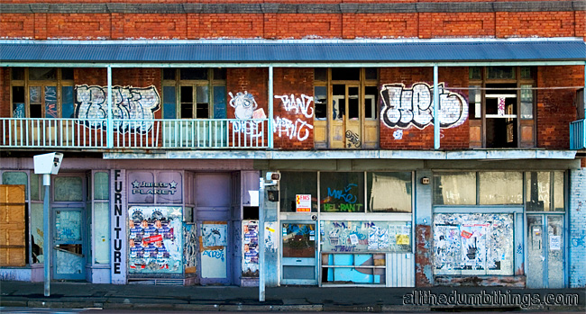 Old shops left to decay on Parramatta Rd