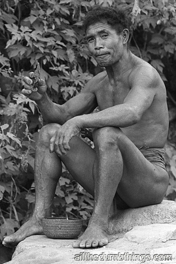 Barlig man with tabacco leaf