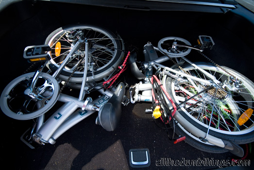 The folding bikes in the back of our car
