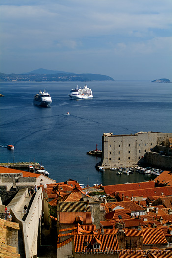 The cruise ships seemed so out of proportion to the old city