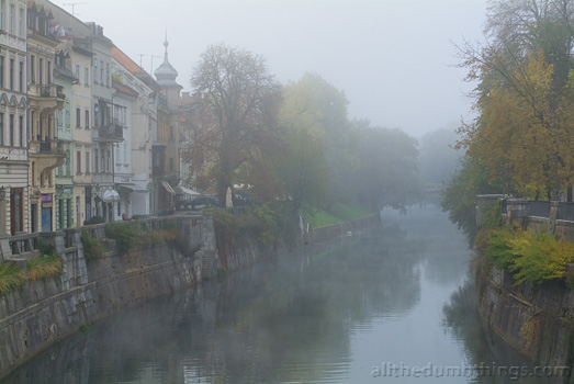 Foggy autumn morning in Ljubljana Slovenia